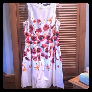 Ralph Lauren white floral pleated dress size 14